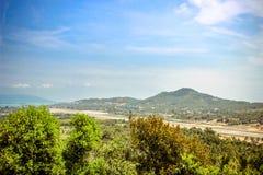 Vändkretsö Samui, hav och flygplats, panorama Royaltyfri Foto