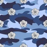 Vändkretsen blommar på kamouflagebakgrunden seamless vektor för modell Tropisk illustration för Camo blomma För din rengöringsduk Arkivbild