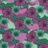 Vändkretsen blommar på kamouflagebakgrunden seamless vektor för modell Tropisk illustration för Camo blomma För din rengöringsduk Fotografering för Bildbyråer