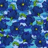 Vändkretsen blommar på kamouflagebakgrunden seamless vektor för modell Tropisk illustration för Camo blomma För din rengöringsduk Royaltyfri Bild