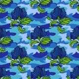Vändkretsen blommar på kamouflagebakgrunden seamless vektor för modell Tropisk illustration för Camo blomma För din rengöringsduk Royaltyfri Fotografi