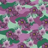 Vändkretsen blommar på kamouflagebakgrunden seamless vektor för modell Tropisk illustration för Camo blomma För din rengöringsduk Royaltyfria Bilder