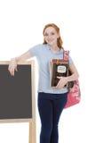 Vänlig Caucasian högskolestudent med ryggsäck Royaltyfri Bild