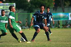 Vänlig fotbollsmatch arkivbild