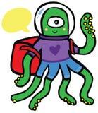 Vänlig främmande astronaut Traveler med ryggsäcken Royaltyfria Bilder