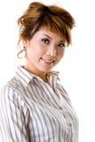 vänlig leendewom för affär Arkivfoton