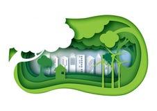 Vänlig stads- stad för grön eco med för lagersnitt för papper 3d abstrakt begrepp n Royaltyfri Foto