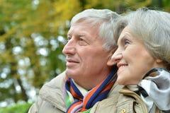 Vänliga åldringpar som spenderar utomhus- tid Arkivbild