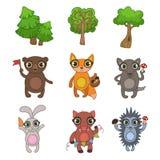 Vänliga Forest Animals Set Fotografering för Bildbyråer
