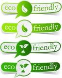 vänliga gröna etiketter för eco Arkivbild