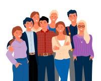 Vänner eller släktingar och att le man- och kvinnavektorn royaltyfri illustrationer