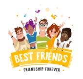 Vänner för studenter för tonåringar för leende för grupplag lyckliga Royaltyfria Bilder