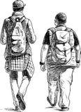 Vänner går på en tur arkivfoton