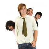 vänner grupperar den lyckliga manlign arkivbild