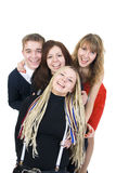 vänner grupperar lyckligt Royaltyfria Foton