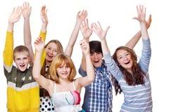 vänner grupperar tonårs- Arkivfoto