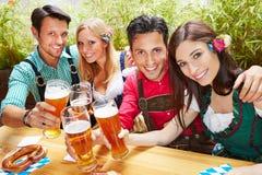 Vänner i bavaria som klirrar öl fotografering för bildbyråer