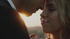 Vänner i ett fält på solnedgången Flicka- och grabbinnehavhänder lyckligt le för par lager videofilmer