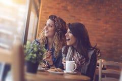 Vänner i ett kafé Arkivbilder