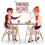 Vänner i kafévektor kvinna två dricka för kaffe Bistroer kafeteria ta för man för avbrottskaffebegrepp livsstil Ha gyckel vektor illustrationer