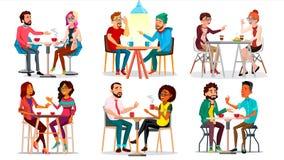 Vänner i kafévektor Man kvinna, pojkvän, flickvän Sitta tillsammans och dricka kaffe Bistroer kafeteria vektor illustrationer