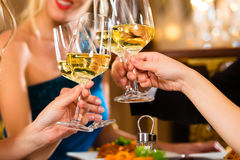 Vänner i mycket bra exponeringsglas för en restaurangfinka Royaltyfria Foton