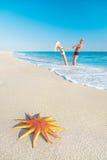 Vänner kopplar ihop på den sandiga havsstranden med den röda sjöstjärnan Royaltyfri Fotografi