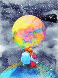 Vänner kopplar ihop sött i universumvattenfärgmålningen royaltyfri illustrationer