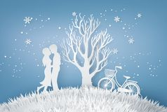 Vänner kramar i en äng med trädet utan tjänstledigheter stock illustrationer