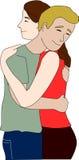 Vänner kramar varje annan Royaltyfria Foton