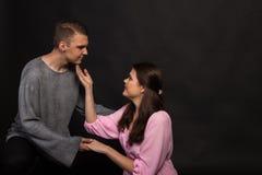 Vänner man och kvinnan Fotografering för Bildbyråer