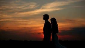 Vänner på solnedgången stock video