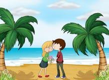 Vänner på stranden stock illustrationer