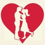 Vänner silhouette på hjärtabakgrundsvykort Royaltyfria Bilder