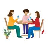 Vänner som dricker kaffe och att prata Kvinnor sitter i ett kafé och att ha gyckel stock illustrationer