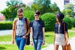 Vänner som går på gatan, ungdomkultur Arkivfoton