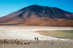 Vänner som håller ögonen på ett enormt berg i öknen royaltyfri foto