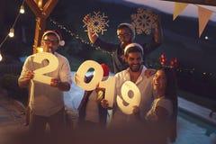 Vänner som har gyckel på ett nyårsaftonparti vid pölen arkivbild