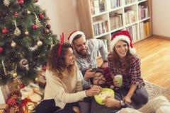 Vänner som har hållande ögonen på julfilmer för gyckel arkivfoton