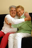 vänner som kramar pensionären Arkivbild