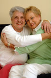 vänner som kramar pensionären Royaltyfri Fotografi