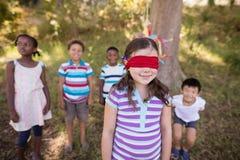 Vänner som ser bundit för ögonen på flickaanseende i skog Arkivfoto