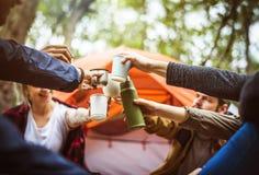 Vänner som tillsammans campar i skogen fotografering för bildbyråer