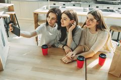 Vänner som tillsammans gör selfie på coffee shop royaltyfria bilder