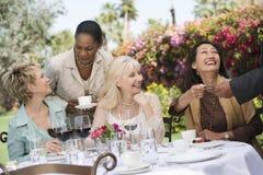 Vänner som tycker om matställepartiet i trädgård Arkivfoto