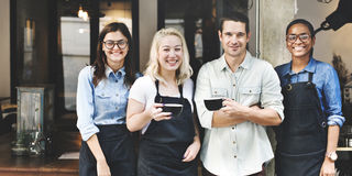 Vänpartnerskap Barista Coffee Shop Concept arkivfoto