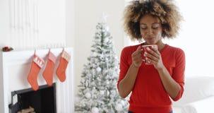 Vänskapsmatch som ler den unga kvinnan som firar jul lager videofilmer