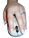 Vänsterhänt kvinna som rymmer en mus som isoleras Arkivfoton