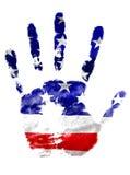Vänstersidahandtrycket i USA flaggan färgar på vit isolerad bakgrund, nationell beröm av USA Royaltyfri Bild