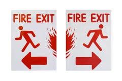 Vänstert och högert tecken av text för brandutgång Royaltyfri Foto